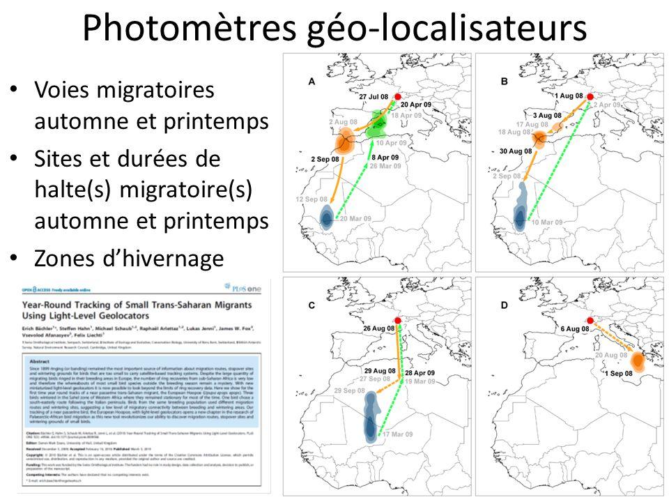 Voies migratoires automne et printemps Sites et durées de halte(s) migratoire(s) automne et printemps Zones dhivernage Photomètres géo-localisateurs