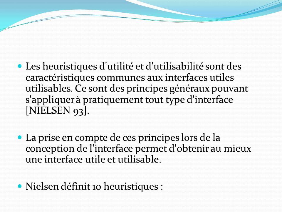 Les heuristiques d'utilité et d'utilisabilité sont des caractéristiques communes aux interfaces utiles utilisables. Ce sont des principes généraux pou