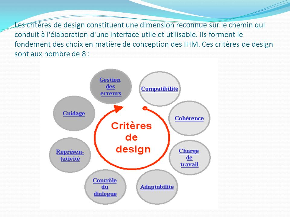 Les critères de design constituent une dimension reconnue sur le chemin qui conduit à l'élaboration d'une interface utile et utilisable. Ils forment l