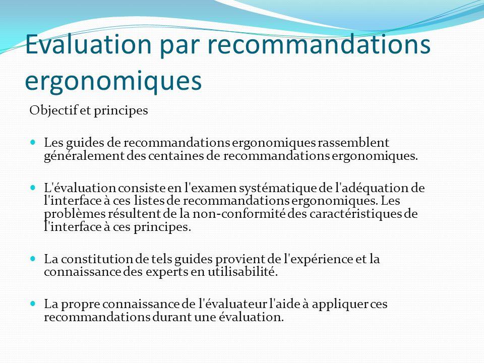 Evaluation par recommandations ergonomiques Objectif et principes Les guides de recommandations ergonomiques rassemblent généralement des centaines de