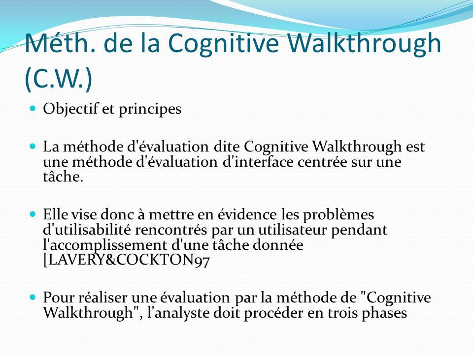 Méth. de la Cognitive Walkthrough (C.W.) Objectif et principes La méthode d'évaluation dite Cognitive Walkthrough est une méthode d'évaluation d'inter