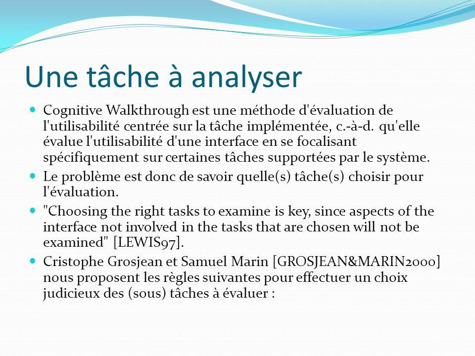 Une tâche à analyser Cognitive Walkthrough est une méthode d'évaluation de l'utilisabilité centrée sur la tâche implémentée, c.-à-d. qu'elle évalue l'
