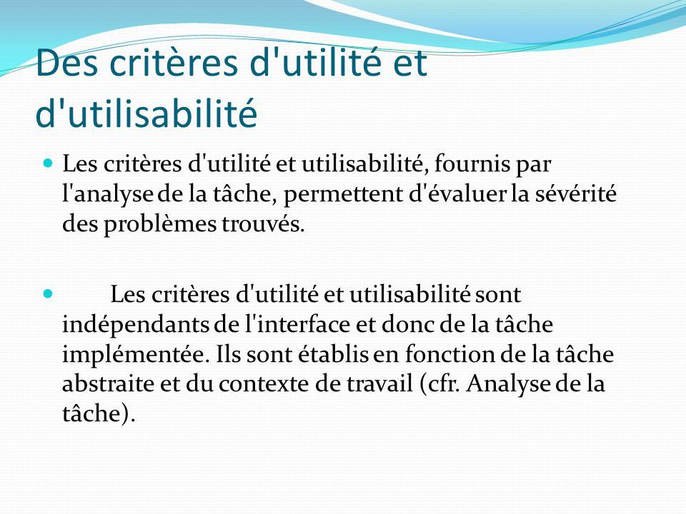 Des critères d'utilité et d'utilisabilité Les critères d'utilité et utilisabilité, fournis par l'analyse de la tâche, permettent d'évaluer la sévérité