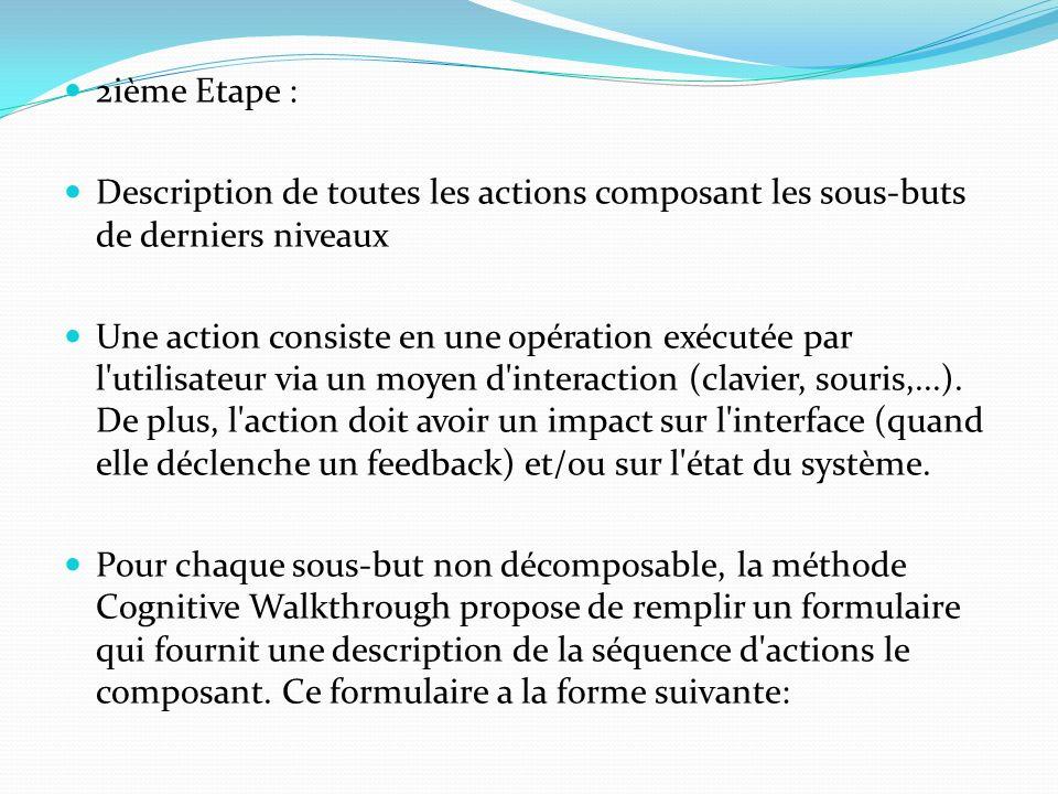 2ième Etape : Description de toutes les actions composant les sous-buts de derniers niveaux Une action consiste en une opération exécutée par l'utilis