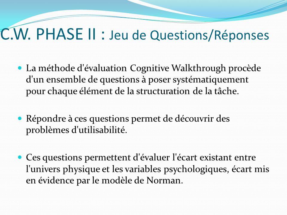 C.W. PHASE II : Jeu de Questions/Réponses La méthode d'évaluation Cognitive Walkthrough procède d'un ensemble de questions à poser systématiquement po
