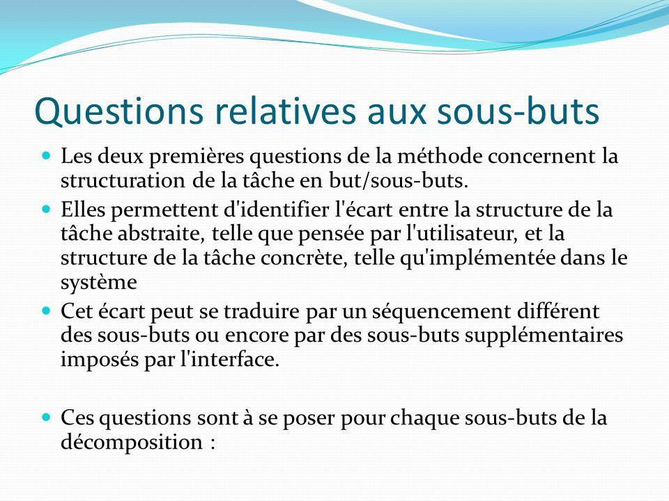 Questions relatives aux sous-buts Les deux premières questions de la méthode concernent la structuration de la tâche en but/sous-buts. Elles permetten