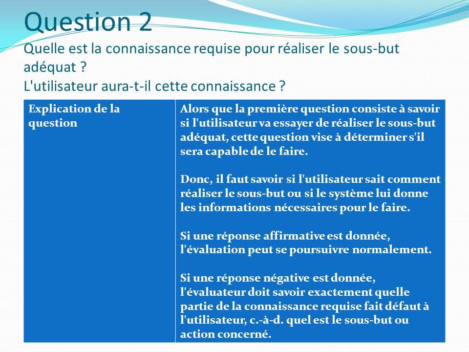 Question 2 Quelle est la connaissance requise pour réaliser le sous-but adéquat ? L'utilisateur aura-t-il cette connaissance ? Explication de la quest