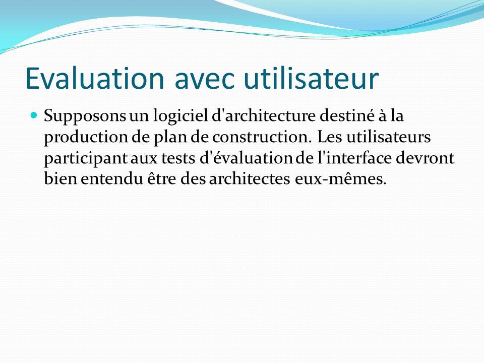 Evaluation avec utilisateur Supposons un logiciel d'architecture destiné à la production de plan de construction. Les utilisateurs participant aux tes