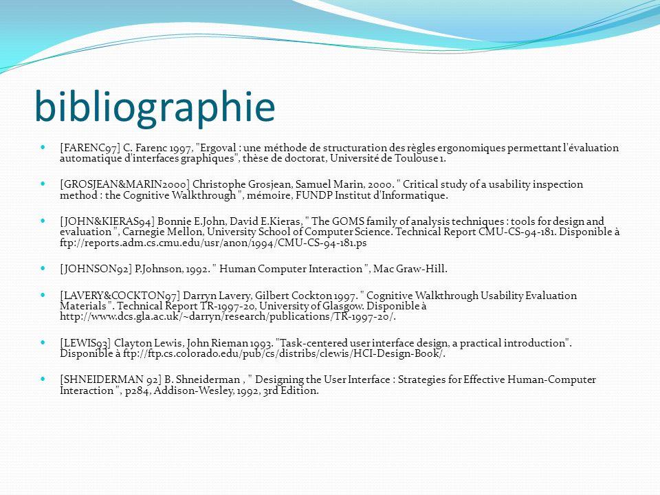 bibliographie [FARENC97] C. Farenc 1997,
