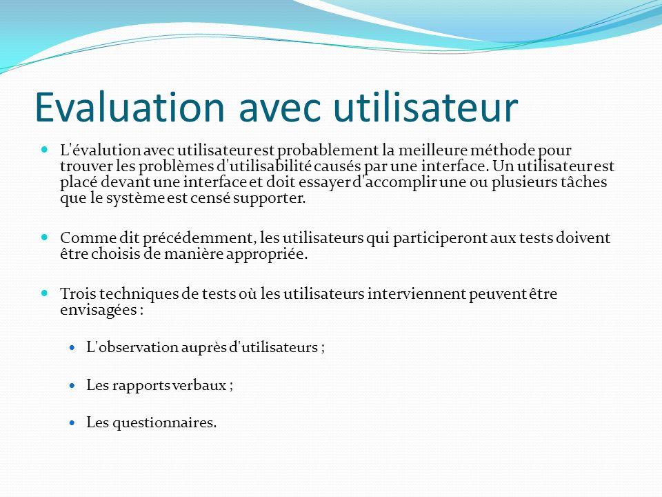Evaluation avec utilisateur L'évalution avec utilisateur est probablement la meilleure méthode pour trouver les problèmes d'utilisabilité causés par u