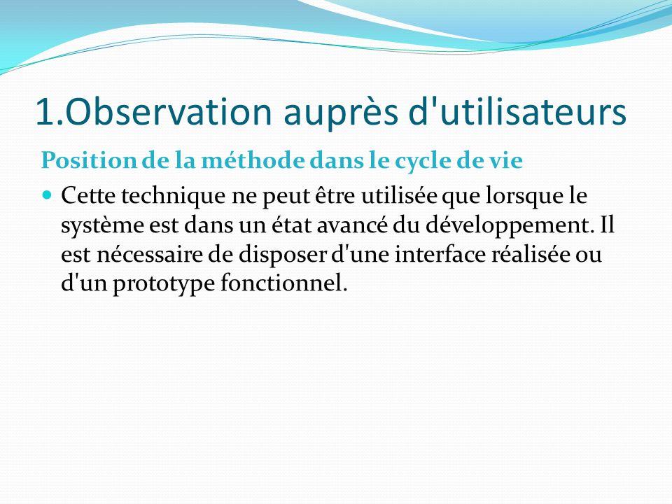 1.Observation auprès d'utilisateurs Position de la méthode dans le cycle de vie Cette technique ne peut être utilisée que lorsque le système est dans