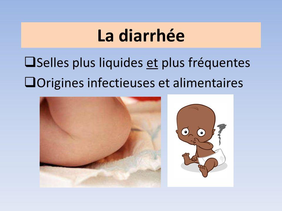 Selles plus liquides et plus fréquentes Origines infectieuses et alimentaires La diarrhée