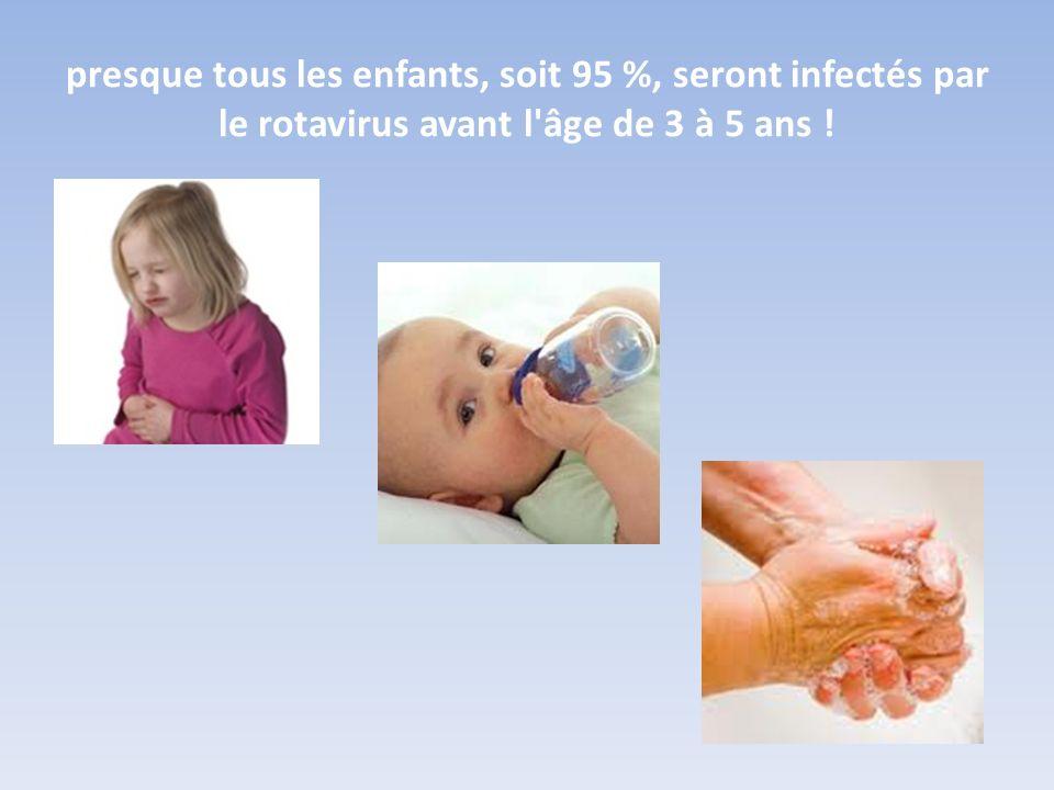 presque tous les enfants, soit 95 %, seront infectés par le rotavirus avant l'âge de 3 à 5 ans !