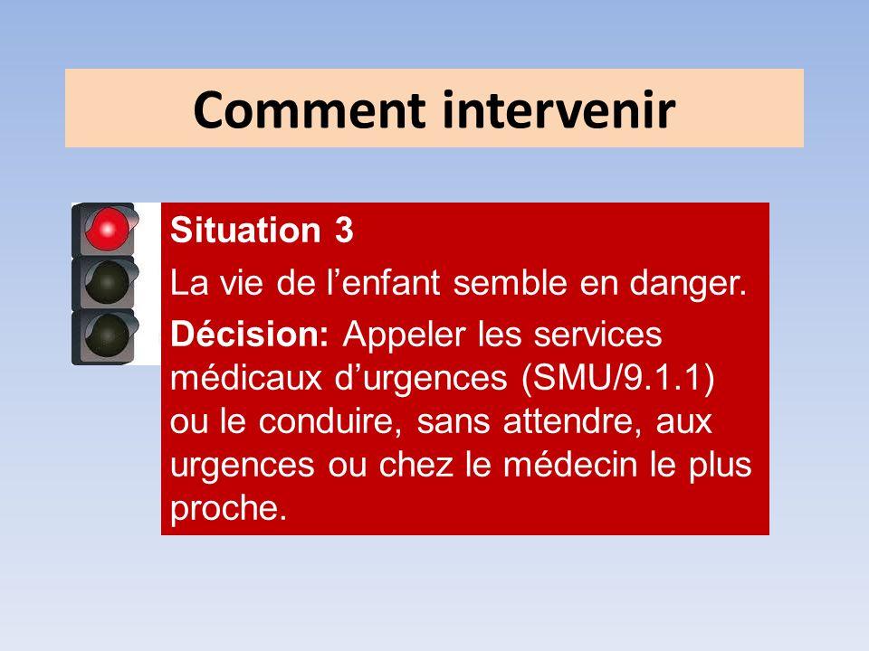Situation 3 La vie de lenfant semble en danger. Décision: Appeler les services médicaux durgences (SMU/9.1.1) ou le conduire, sans attendre, aux urgen