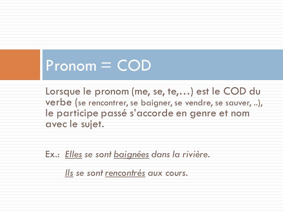 Lorsque le pronom (me, se, te,…) est le COD du verbe ( se rencontrer, se baigner, se vendre, se sauver,..), le participe passé saccorde en genre et no