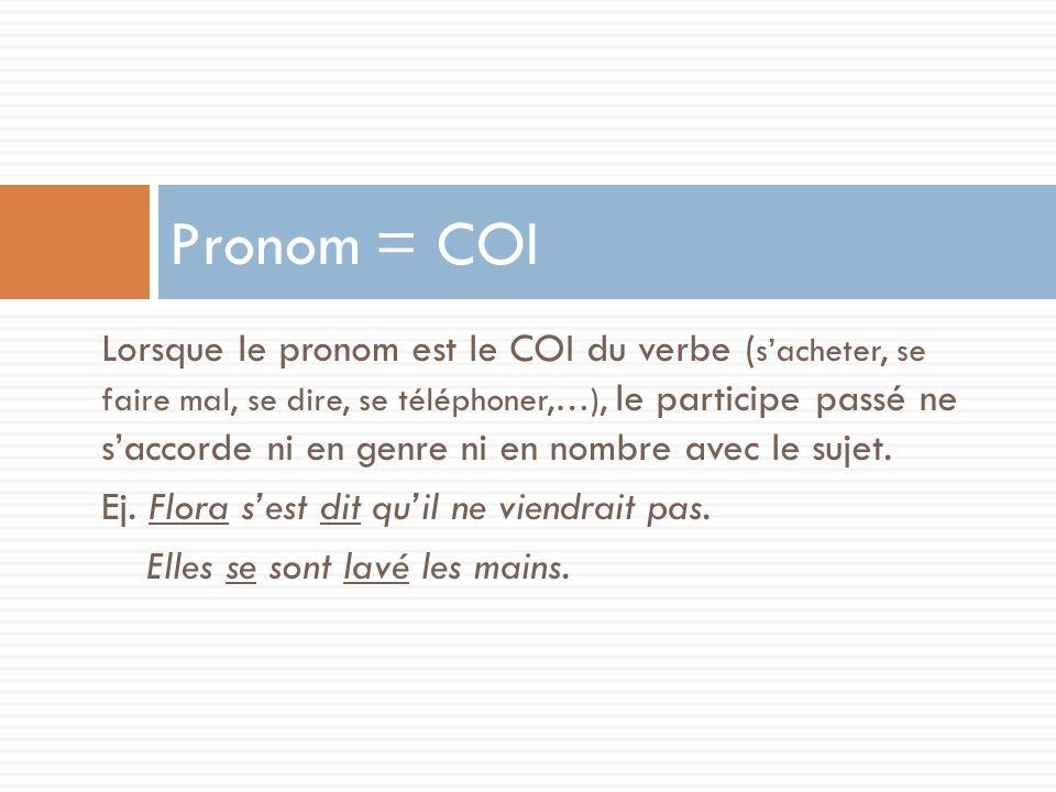 Lorsque le pronom est le COI du verbe ( sacheter, se faire mal, se dire, se téléphoner,…), le participe passé ne saccorde ni en genre ni en nombre ave