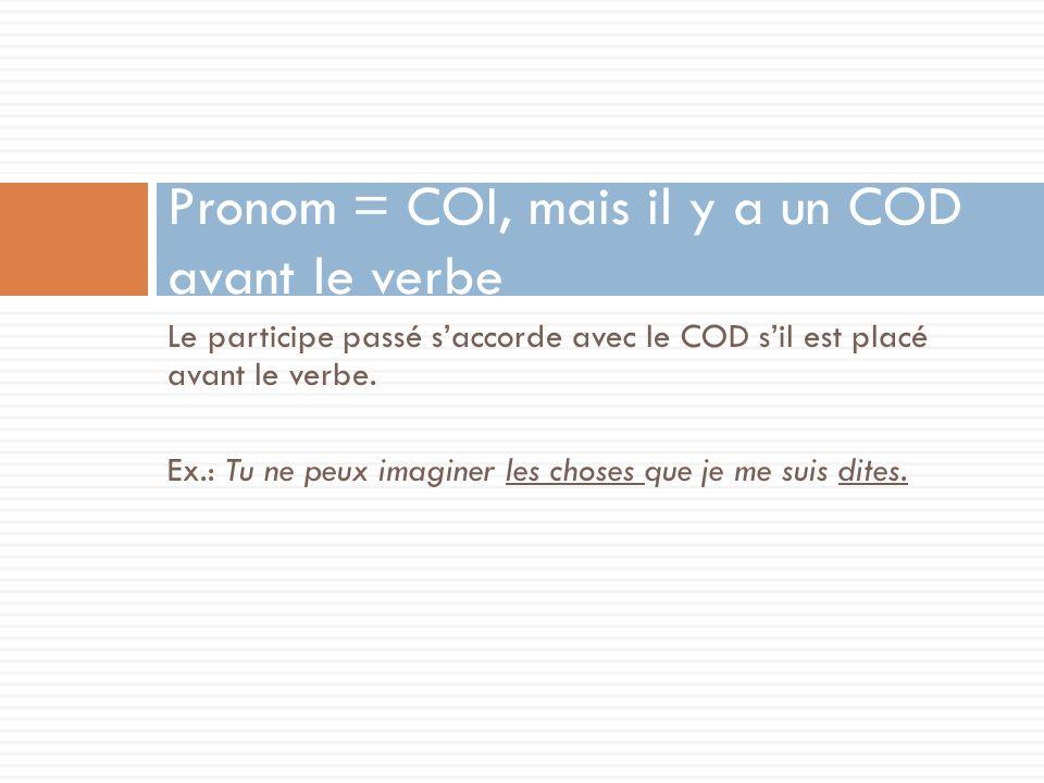 Le participe passé saccorde avec le COD sil est placé avant le verbe. Ex.: Tu ne peux imaginer les choses que je me suis dites. Pronom = COI, mais il