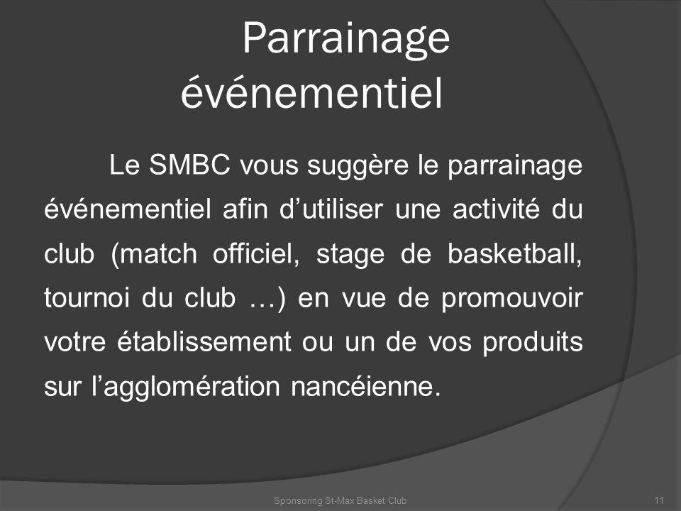 Parrainage événementiel Le SMBC vous suggère le parrainage événementiel afin dutiliser une activité du club (match officiel, stage de basketball, tour