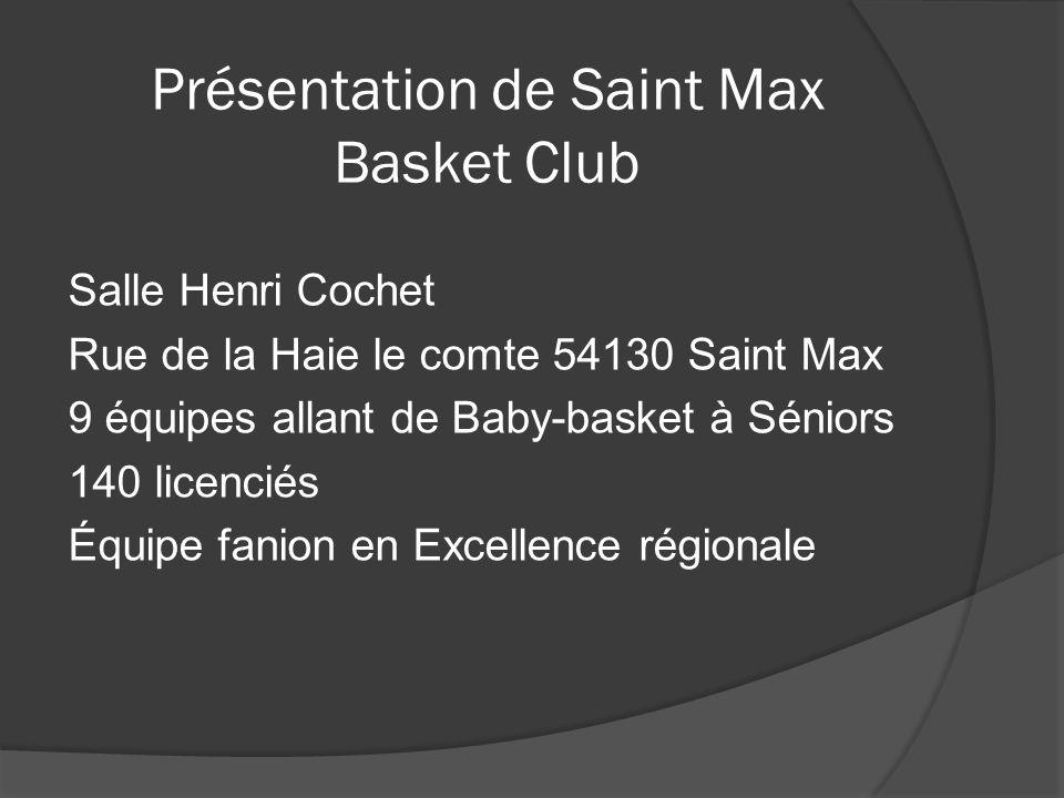 Présentation de Saint Max Basket Club Salle Henri Cochet Rue de la Haie le comte 54130 Saint Max 9 équipes allant de Baby-basket à Séniors 140 licenci