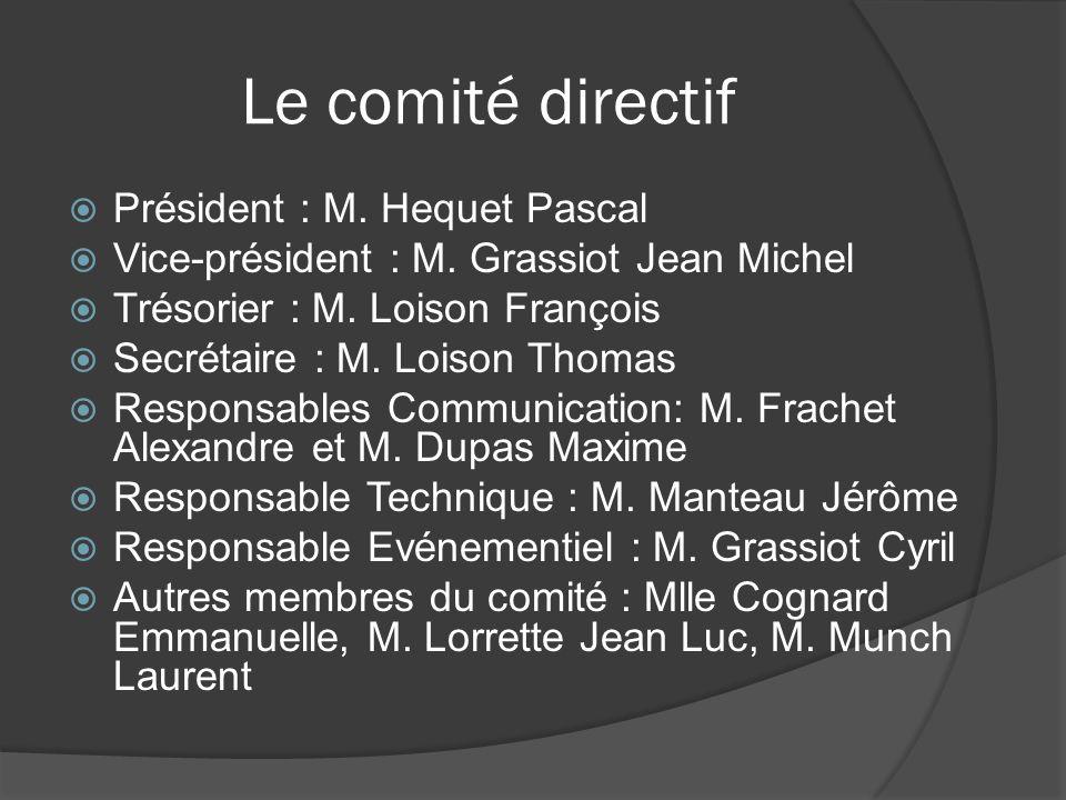 Le comité directif Président : M. Hequet Pascal Vice-président : M. Grassiot Jean Michel Trésorier : M. Loison François Secrétaire : M. Loison Thomas