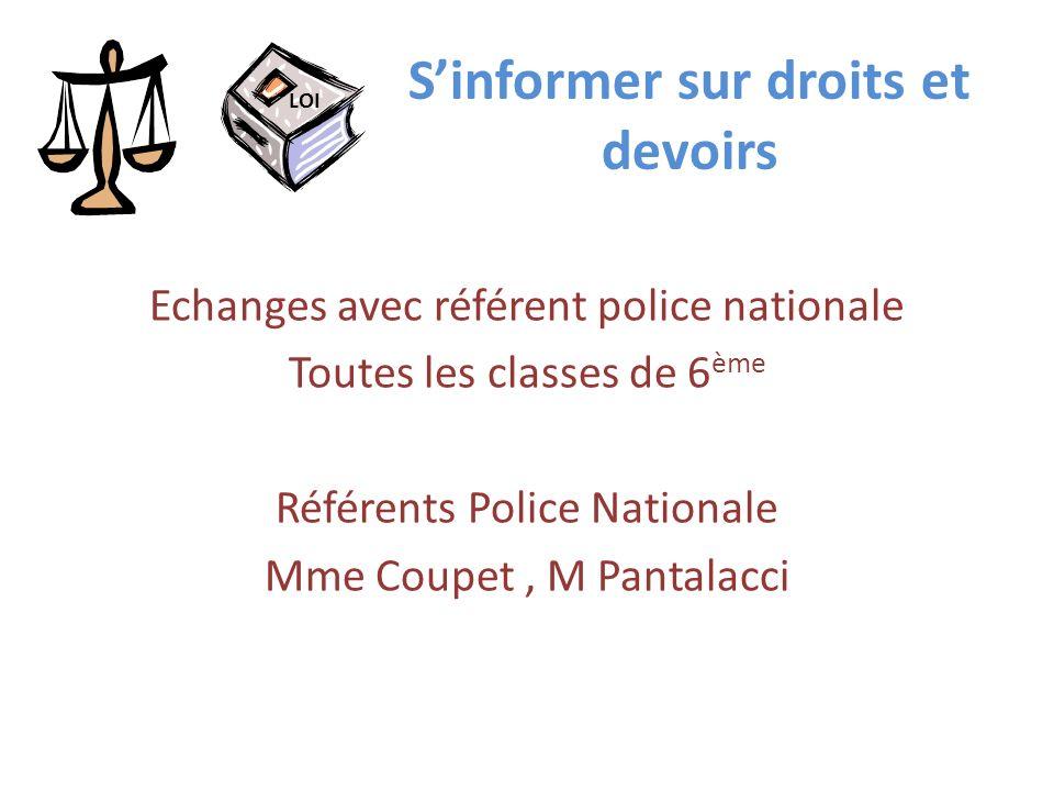 Sinformer sur droits et devoirs Echanges avec référent police nationale Toutes les classes de 6 ème Référents Police Nationale Mme Coupet, M Pantalacc