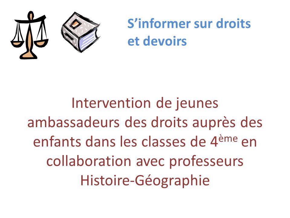 Intervention de jeunes ambassadeurs des droits auprès des enfants dans les classes de 4 ème en collaboration avec professeurs Histoire-Géographie Sinf