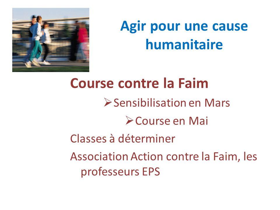 Agir pour une cause humanitaire Course contre la Faim Sensibilisation en Mars Course en Mai Classes à déterminer Association Action contre la Faim, le