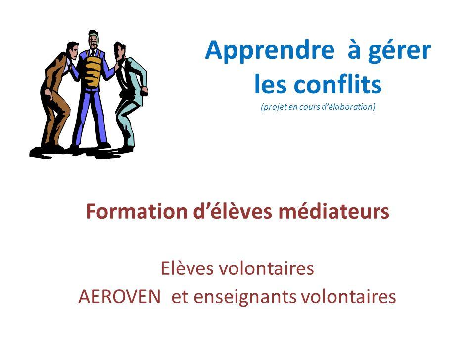 Apprendre à gérer les conflits (projet en cours délaboration) Formation délèves médiateurs Elèves volontaires AEROVEN et enseignants volontaires