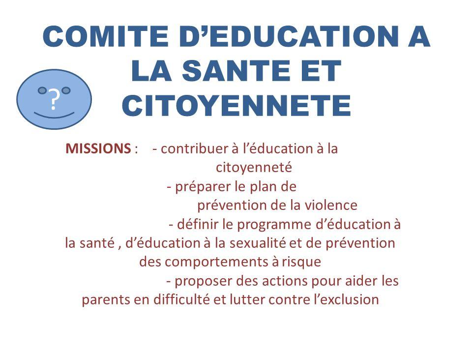 COMITE DEDUCATION A LA SANTE ET CITOYENNETE ? MISSIONS : - contribuer à léducation à la citoyenneté - préparer le plan de prévention de la violence -
