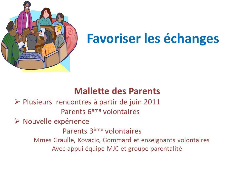Favoriser les échanges Mallette des Parents Plusieurs rencontres à partir de juin 2011 Parents 6 ème volontaires Nouvelle expérience Parents 3 ème vol
