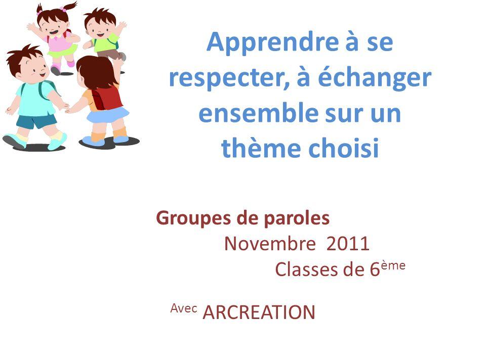 Apprendre à se respecter, à échanger ensemble sur un thème choisi Groupes de paroles Novembre 2011 Classes de 6 ème Avec ARCREATION