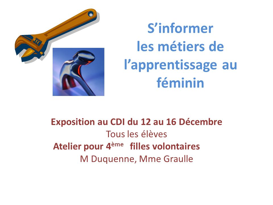 Sinformer les métiers de lapprentissage au féminin Exposition au CDI du 12 au 16 Décembre Tous les élèves Atelier pour 4 ème filles volontaires M Duqu