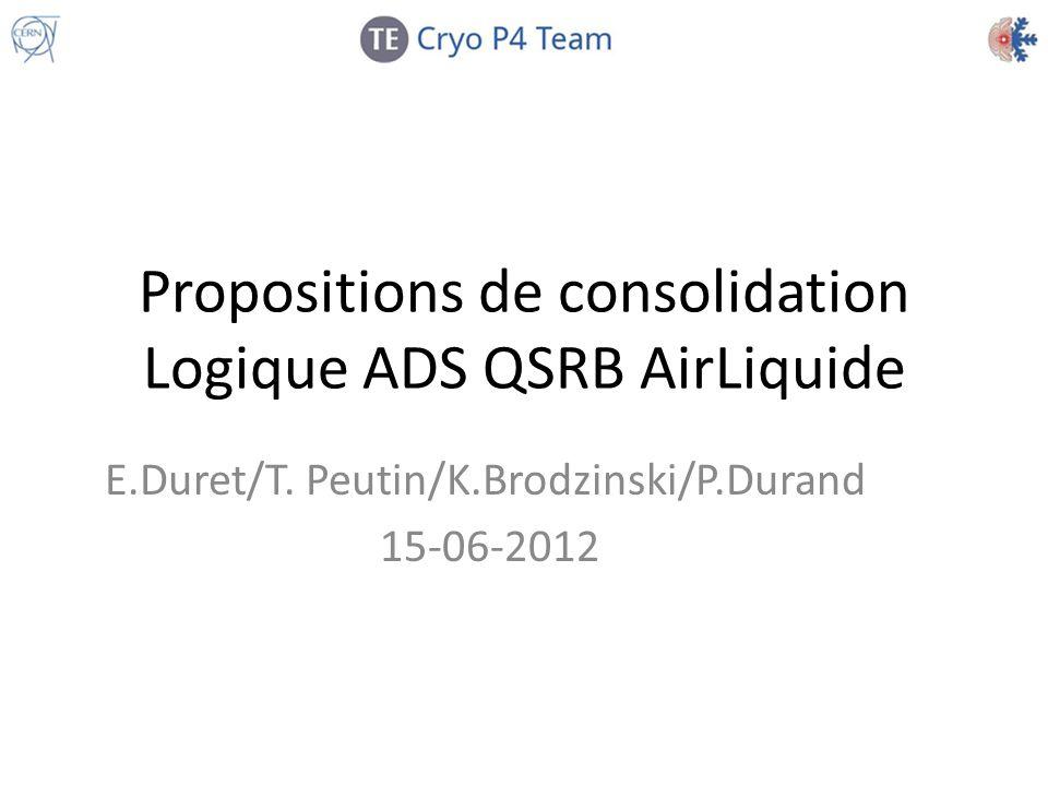 Propositions de consolidation Logique ADS QSRB AirLiquide E.Duret/T. Peutin/K.Brodzinski/P.Durand 15-06-2012