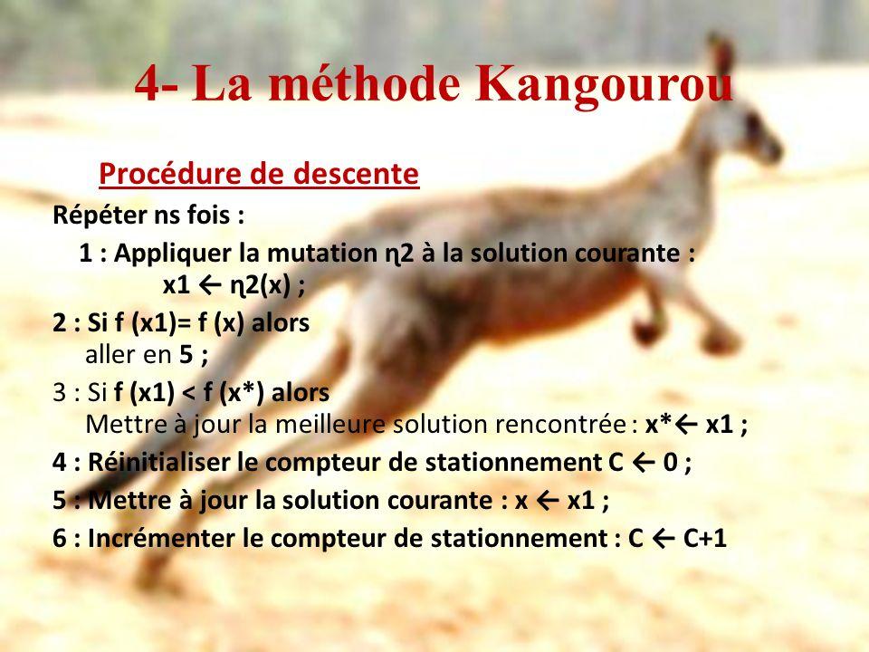 4- La méthode Kangourou Procédure de descente Répéter ns fois : 1 : Appliquer la mutation ɳ2 à la solution courante : x1 ɳ2(x) ; 2 : Si f (x1)= f (x)