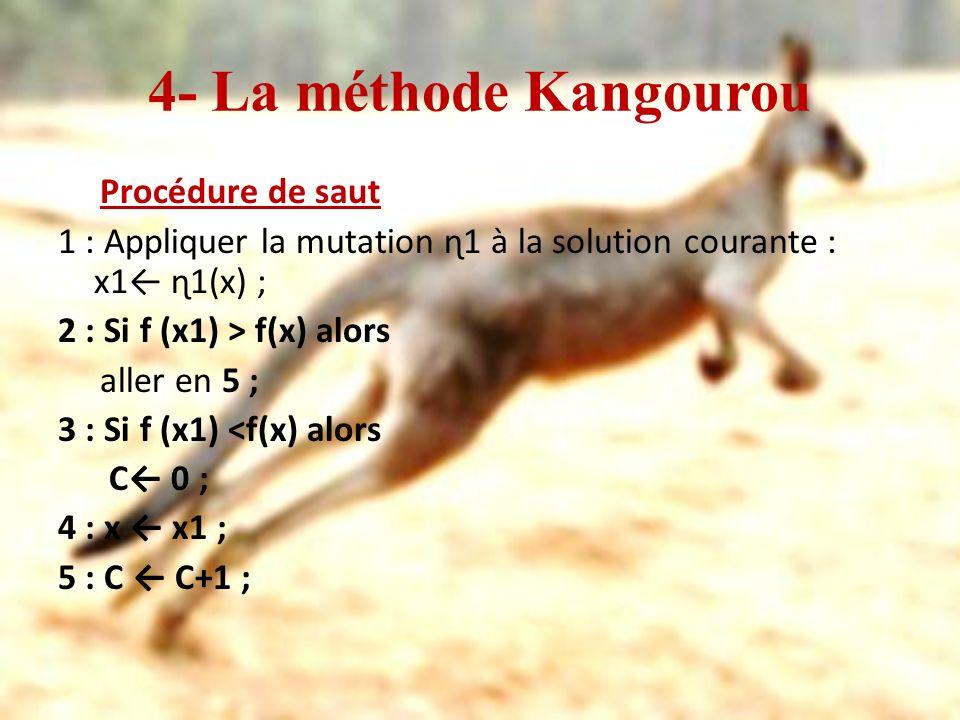 4- La méthode Kangourou Procédure de saut 1 : Appliquer la mutation ɳ1 à la solution courante : x1 ɳ1(x) ; 2 : Si f (x1) > f(x) alors aller en 5 ; 3 :