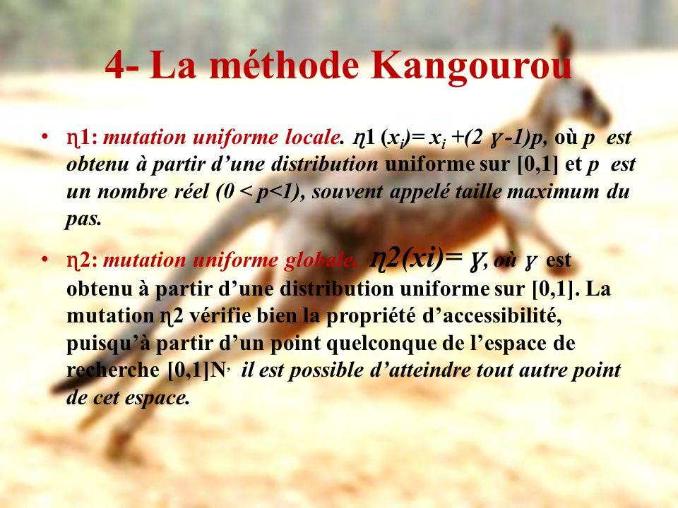 4- La méthode Kangourou ɳ 1: mutation uniforme locale. ɳ 1 (x i )= x i +(2 ɣ -1)p, où p est obtenu à partir dune distribution uniforme sur [0,1] et p