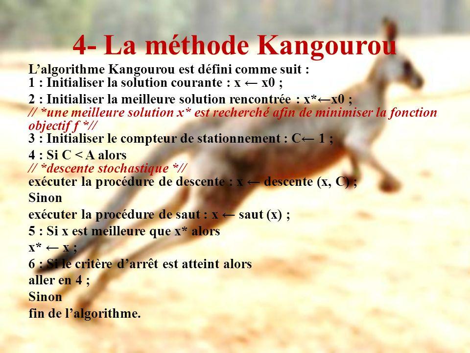 4- La méthode Kangourou Lalgorithme Kangourou est défini comme suit : 1 : Initialiser la solution courante : x x0 ; 2 : Initialiser la meilleure solut