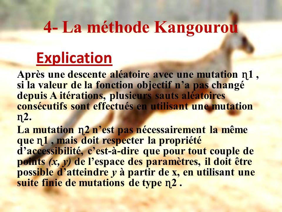 4- La méthode Kangourou Explication Après une descente aléatoire avec une mutation ɳ 1, si la valeur de la fonction objectif na pas changé depuis A it