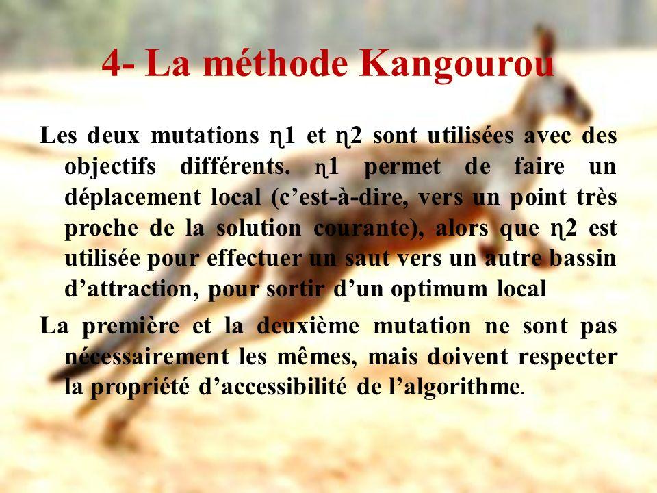 4- La méthode Kangourou Les deux mutations ɳ 1 et ɳ 2 sont utilisées avec des objectifs différents. ɳ 1 permet de faire un déplacement local (cest-à-d