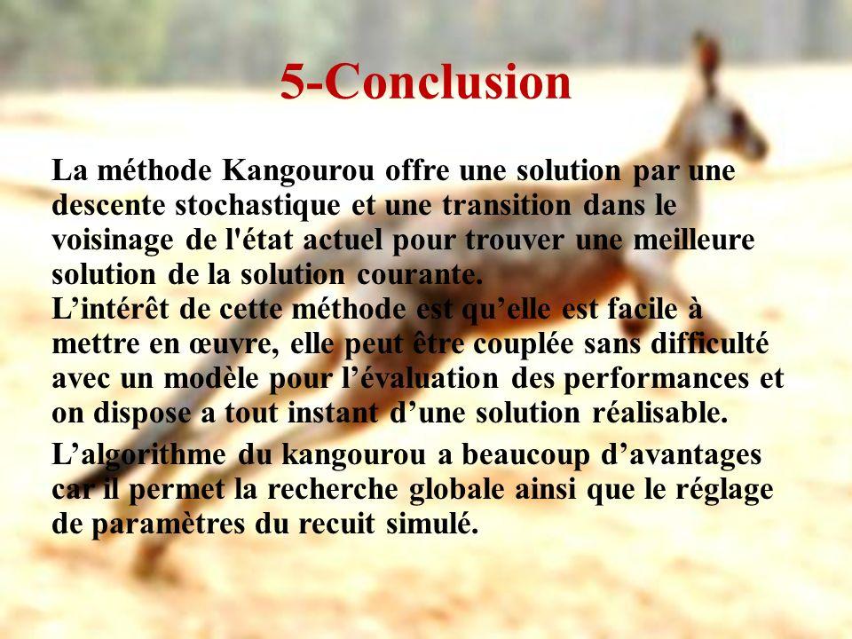 5-Conclusion La méthode Kangourou offre une solution par une descente stochastique et une transition dans le voisinage de l'état actuel pour trouver u