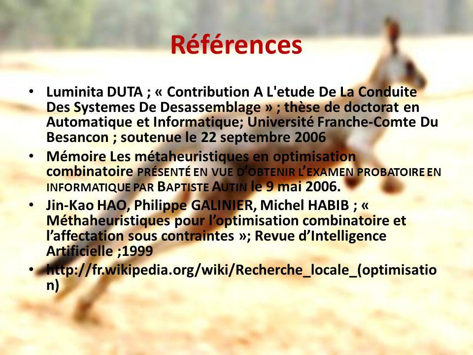 Références Luminita DUTA ; « Contribution A L'etude De La Conduite Des Systemes De Desassemblage » ; thèse de doctorat en Automatique et Informatique;