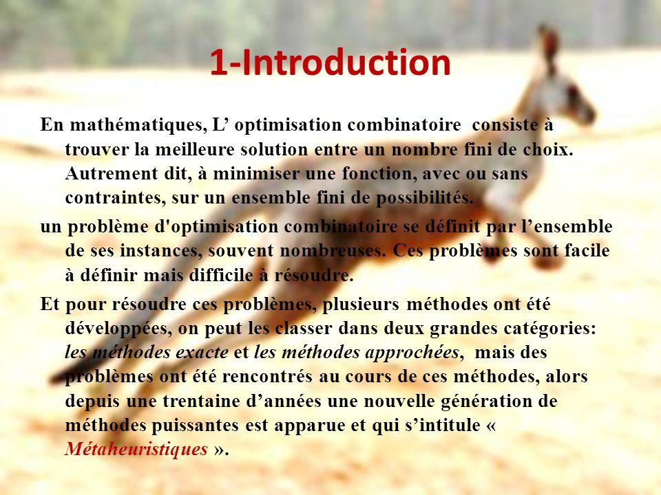 1-Introduction En mathématiques, L optimisation combinatoire consiste à trouver la meilleure solution entre un nombre fini de choix. Autrement dit, à