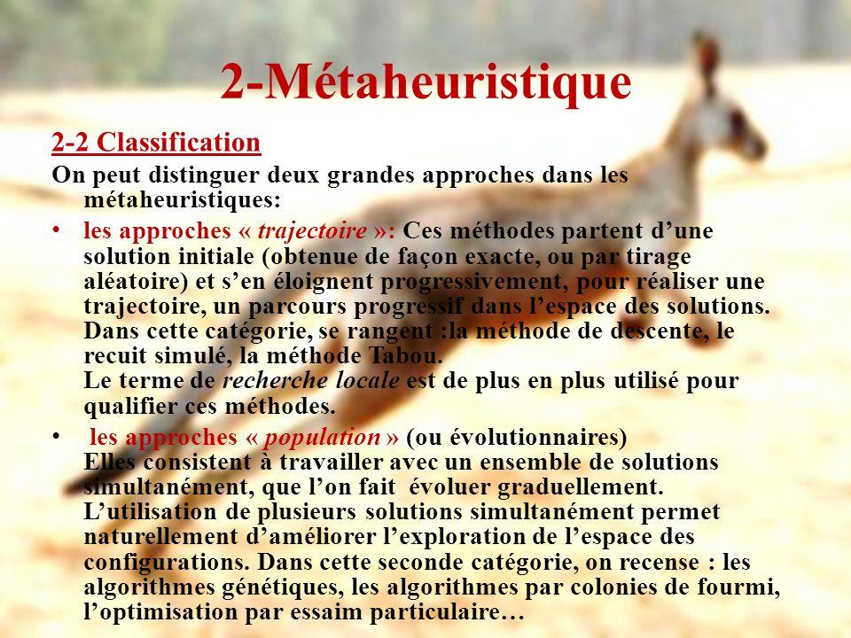2-Métaheuristique 2-2 Classification On peut distinguer deux grandes approches dans les métaheuristiques: les approches « trajectoire »: Ces méthodes