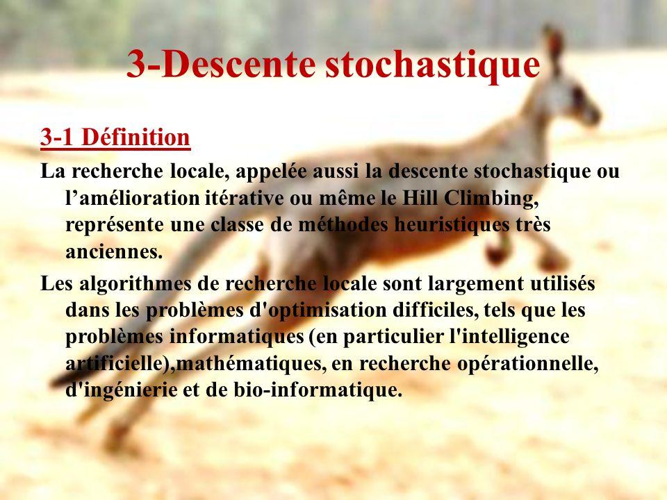3-Descente stochastique 3-2 Principe Le principe de la méthode de descente consiste à partir dune solution s et à choisir une solution s dans un voisinage de s, telle que s améliore la recherche (généralement telle que f(s) < f(s)).