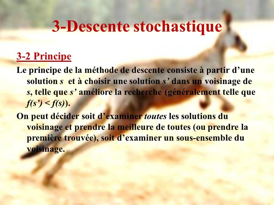 3-Descente stochastique 3-2 Principe Le principe de la méthode de descente consiste à partir dune solution s et à choisir une solution s dans un voisi