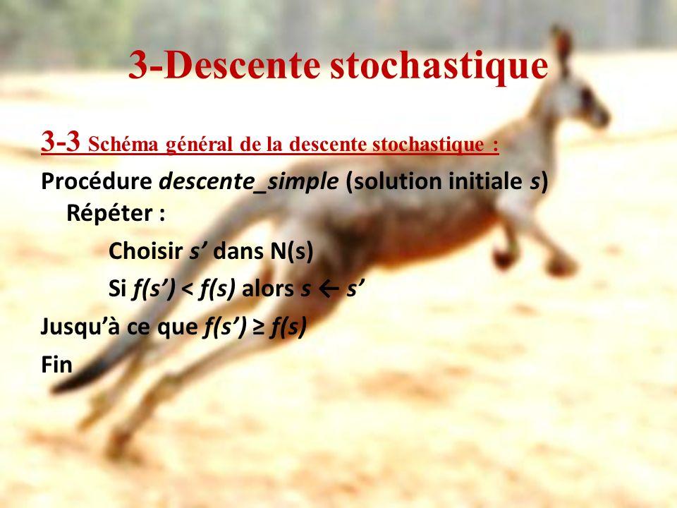 3-Descente stochastique 3-3 Schéma général de la descente stochastique : Procédure descente_simple (solution initiale s) Répéter : Choisir s dans N(s)