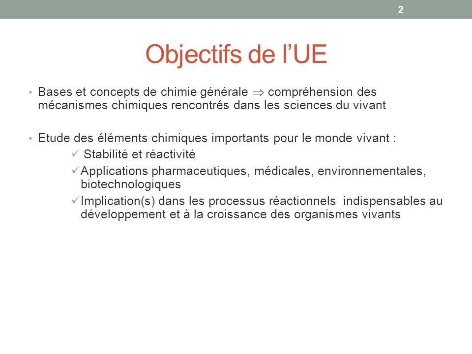 Objectifs de lUE 2 Bases et concepts de chimie générale compréhension des mécanismes chimiques rencontrés dans les sciences du vivant Etude des élémen