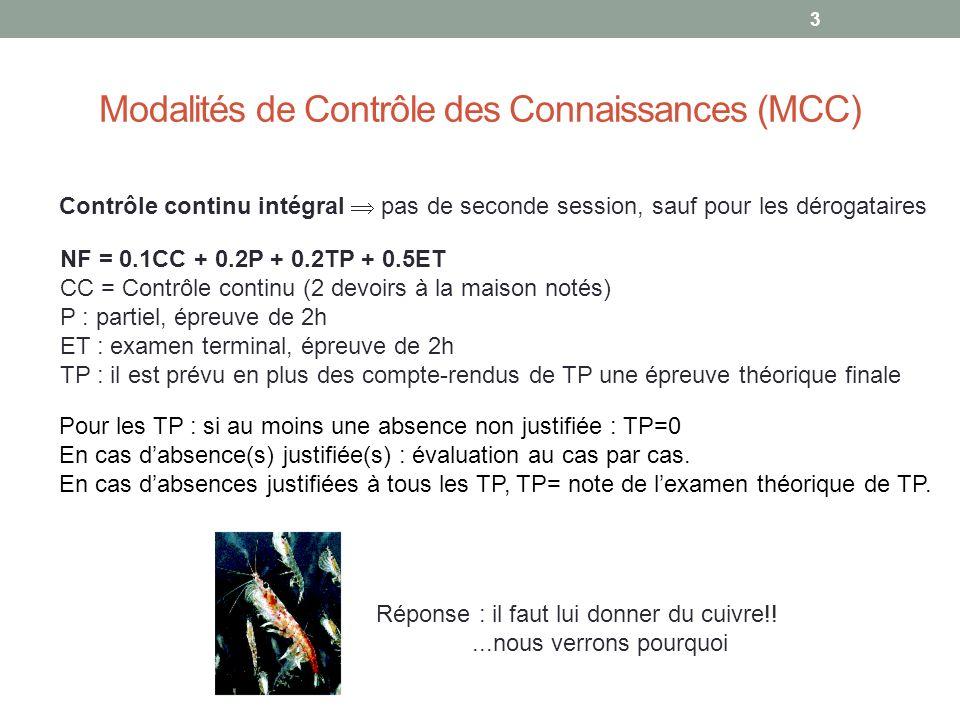 3 Modalités de Contrôle des Connaissances (MCC) Pour les TP : si au moins une absence non justifiée : TP=0 En cas dabsence(s) justifiée(s) : évaluation au cas par cas.