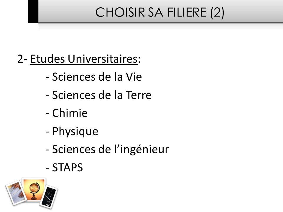 CHOISIR SA FILIERE (2) 2- Etudes Universitaires: - Sciences de la Vie - Sciences de la Terre - Chimie - Physique - Sciences de lingénieur - STAPS