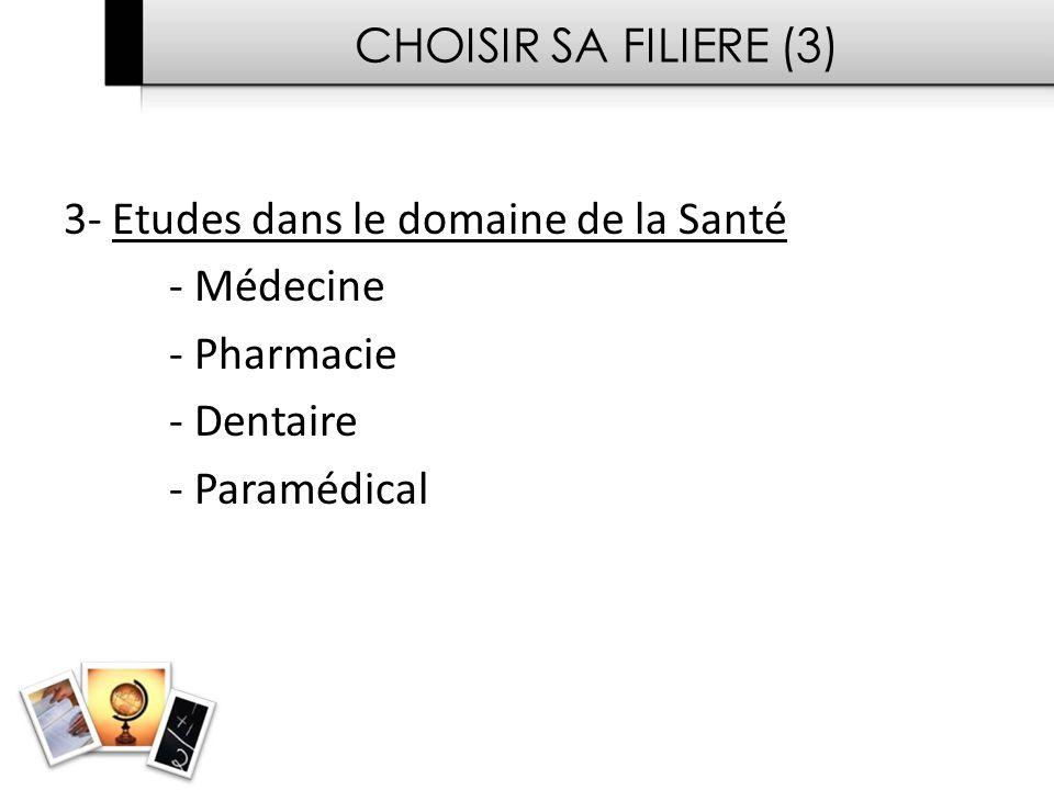 CHOISIR SA FILIERE (3) 3- Etudes dans le domaine de la Santé - Médecine - Pharmacie - Dentaire - Paramédical